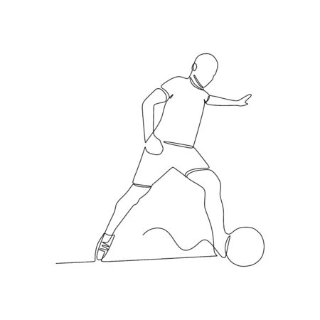 One line drawing of a football player vector illustration