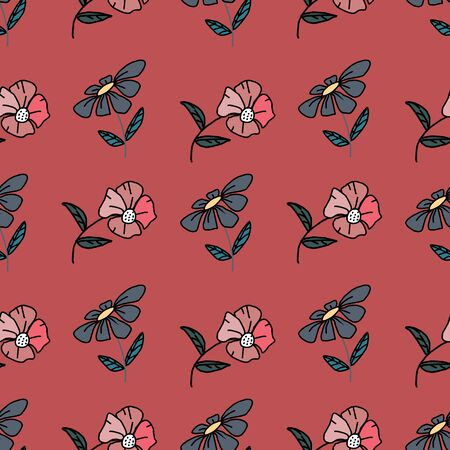 flourish vintage small flowers seamless pattern good for baby, children, and kids. Hand drawn colorful background vector illustration cute drawing. 일러스트