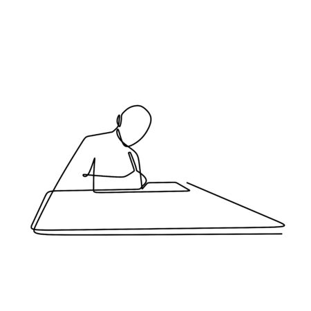 one line drawing vector of a worker writing on his notebook on the table.