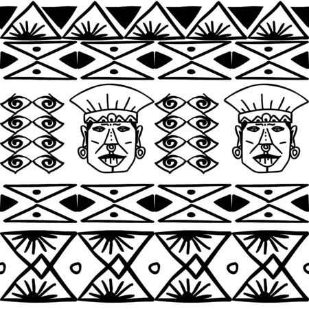 Aztec tribal pattern vector with hand drawn ethnic in black and white colors. Seamless historical mexican maya culture drawing popular this year for fashion textile print and wrapping.