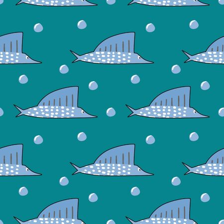 Vector swordfish seamless pattern background with childish drawing style for baby and kids fashion print. Illustration