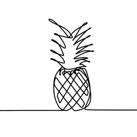 pineapple one line drawing vector