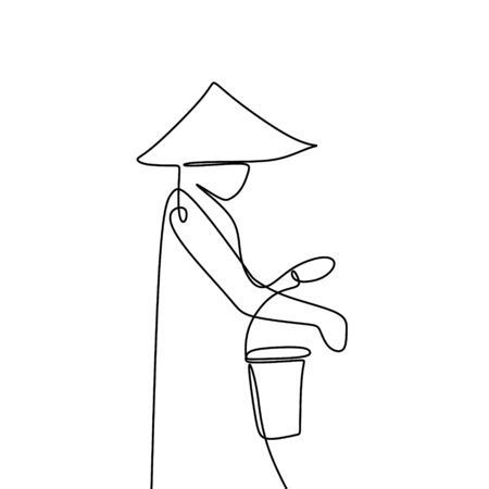 One line drawing of a farmer wearing hat and holding a bucket vector illustration