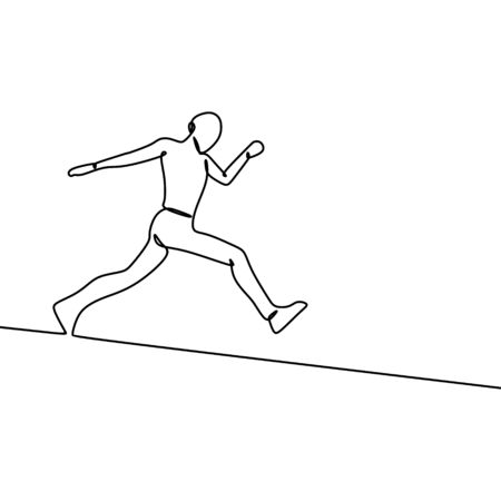 One line art drawing of a person running with a passion isolated on white background vector illustration. Ilustracja
