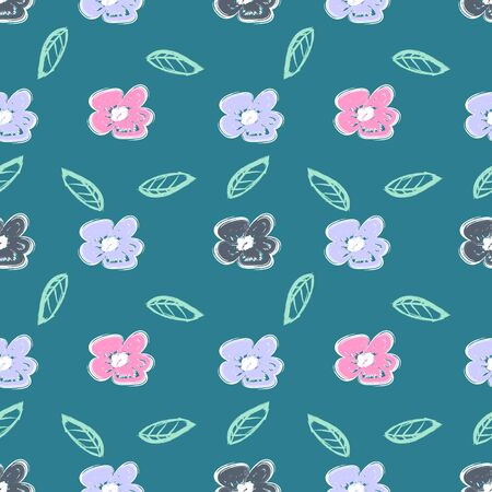 Trendy children drawing flower seamless pattern vector illustration background for wallpaper and textile print. Good for baby fashion scandinavian style multicolor awesome handdrawn.