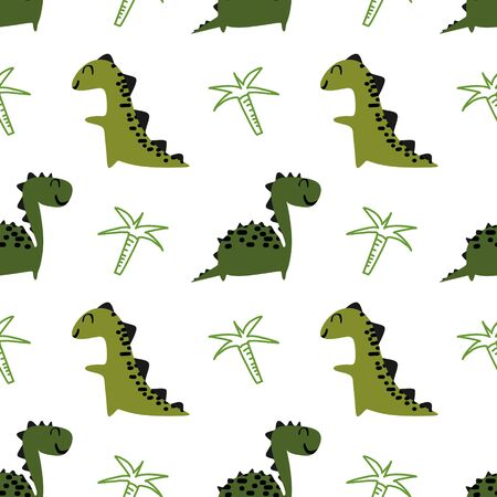 Cute dinosaur seamless pattern vector. Green colors dino character with cartoon style for baby and kids fashion textile print.