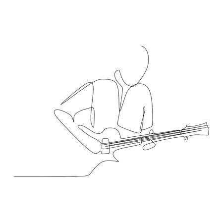 Guitarist in single continuous one line drawing. Artistic minimalist design vector illustration.