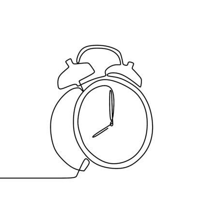One line drawing of a alarm clock vector illustration. Start work concept.
