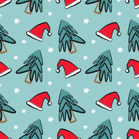 Christmas seamless pattern with childish drawing of santa hat and winter tree with snow on blue background vector illustration ready for print.