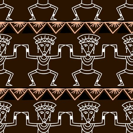 Aztec tribal pattern vector. Hand drawn ancient maya symbol. Native historical mexican culture seamless colorful drawing illustration for fashion textile print or wrapping and wallpaper background. Ilustracja