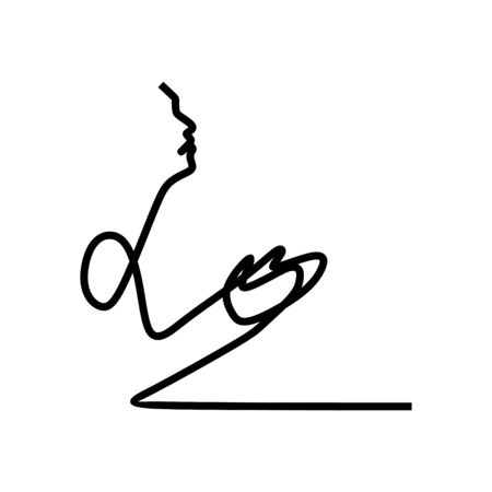 Continuous one single line art drawing of a muslim prayer vector illustration. 向量圖像