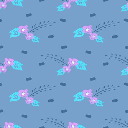 Trendy children drawing flower seamless pattern vector illustration background for wallpaper and textile print. Good for baby fashion scandinavian style multicolor awesome handdrawn. 写真素材 - 129609977