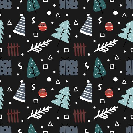 Hand drawn colorful christmas seamless pattern doodle isolated on black background vector illustration for baby and kids fashion textile print and wrapping.