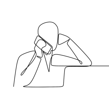 one line drawing vector of a person talking with the phone  イラスト・ベクター素材