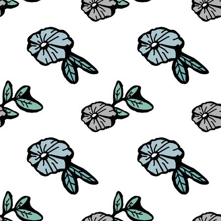 Trendy children drawing flower seamless pattern vector illustration background for wallpaper and textile print. Good for baby fashion scandinavian style multicolor awesome handdrawn. 写真素材 - 129609876