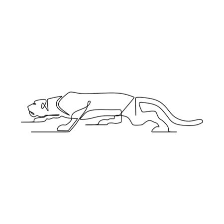 Continuous one line drawing of puma vector illustration. Wild animal isolated on white background. Stock fotó - 129609596