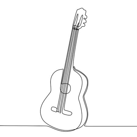 Guitar drawing vector with single continuous one line art style isolated on white background. Çizim