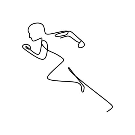 Continuous one single line art drawing of a running man fast in sports theme vector illustration. Workout theme background.