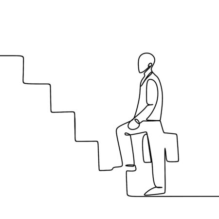 One line art drawing of a business man holding a suitcase go up the stairs. vector illustration of success company theme. Иллюстрация