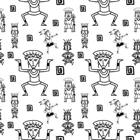 Aztec tribal pattern with hand drawn ethnic black white