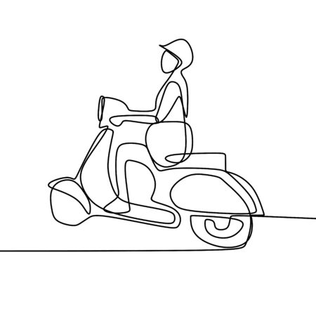 Person riding a retro motorcycle one line drawing vector illustration isolated on white background Illustration