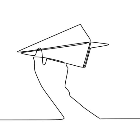 One line art drawing paper plane vector illustration