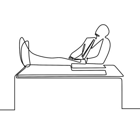 one line drawing vector of relax person in the office. His foot on the table. 矢量图像