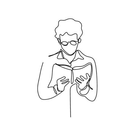 Continuous one line drawing teenager man reading book vector illustration minimalist concept education theme. Stock Illustratie