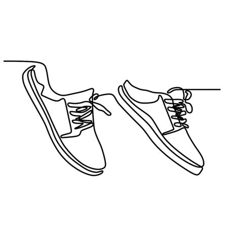 One line drawing of shoes minimalist design vector illustration minimalism style Çizim