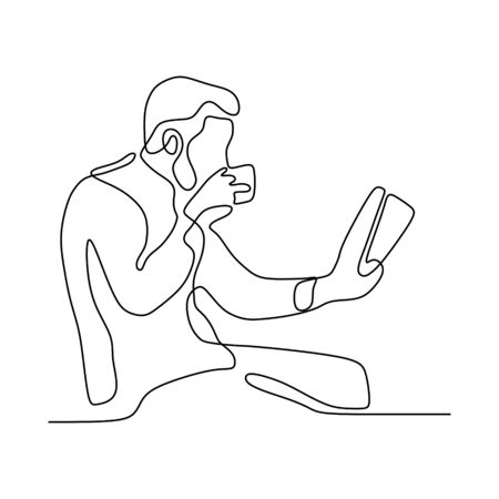 Continuous line drawing boy reading book vector illustration minimalist concept education back to schhol theme. Stock Illustratie