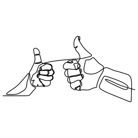 Continuous line drawing thumbs up hand gesture concept of fine, agree, and okay Stock fotó - 129569786