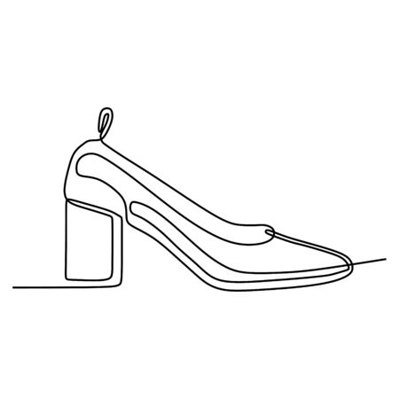 Single continuous line drawing of highheel shoe for woman fashion isolated on white background vector illustration Ilustração