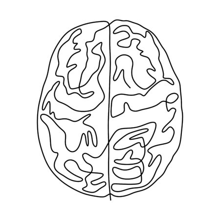 Continuous one line drawing brain anatomy medical theme. Isolated on white background vector illustration minimalism design.