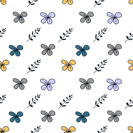 Trendy children drawing flower seamless pattern vector illustration background for wallpaper and textile print. Good for baby fashion scandinavian style multicolor awesome handdrawn. 写真素材 - 129569739