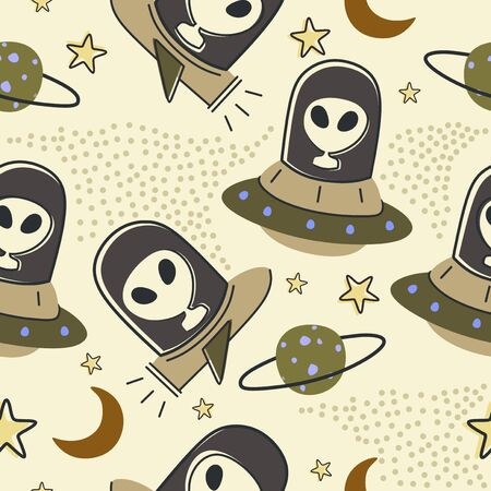Childish drawing seamless pattern with aliens, ufo in space cosmos cute illustration vector scandinavian style Иллюстрация