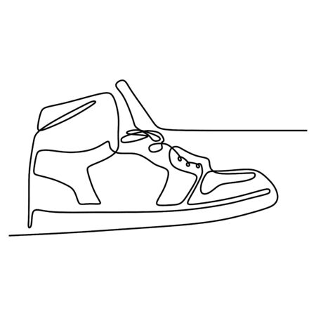 One line of shoe continuous drawing minimal design on white background vector illustration minimalism