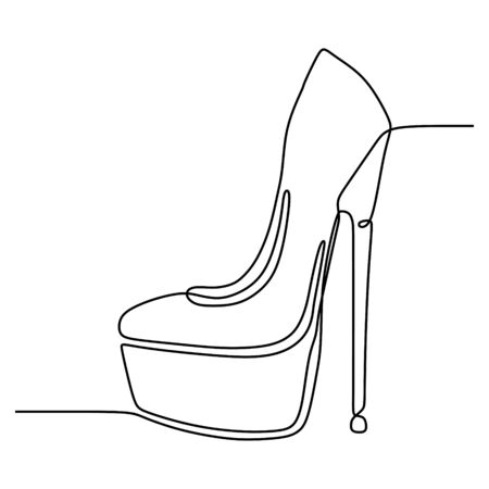 Continuous line drawing of highheels shoe for woman fashion isolated on white background vector illustration