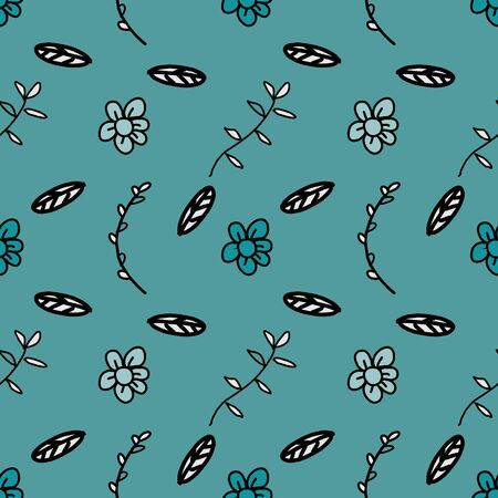 Hand drawn flower seamless pattern with children drawing style vector illustration for kids fashion and baby textile print