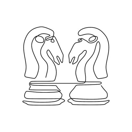 Continuous one line drawing of chess pieces minimalist design isolated on white background. Group of players tactic concept. 版權商用圖片 - 129569388