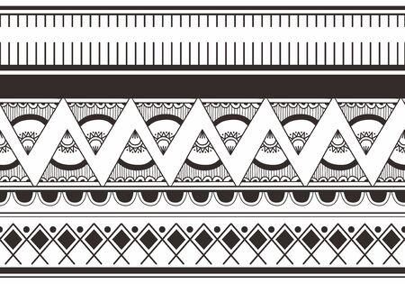 Ikat Navajo tribal seamless pattern. navajo culture background ready for fashion textile print vector illustration black and white colors Ilustracja