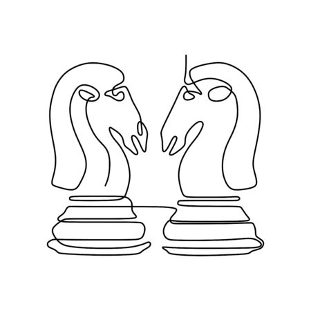 Continuous one line drawing of chess pieces minimalist design isolated on white background. Group of players tactic concept. 版權商用圖片 - 129569371