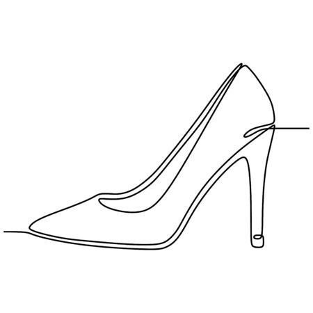 one line drawing of highheel shoe for woman fashion isolated on white background vector illustration
