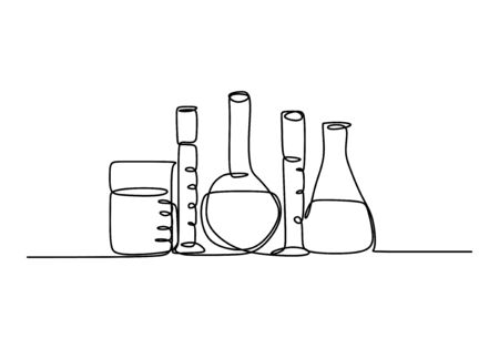 Continuous line art drawing chemical science flask. Scientific technology research medicine glass equipment design one sketch outline drawing vector illustration Stock Illustratie