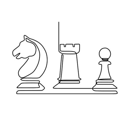 Continuous one line drawing of chess pieces minimalist design isolated on white background. Group of players tactic concept. eps 168195 向量圖像
