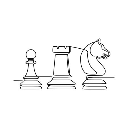 Continuous one line drawing of chess pieces minimalist design isolated on white background. Group of players tactic concept. eps 168196