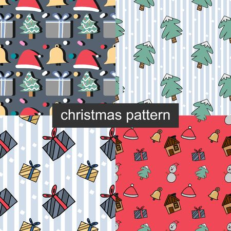 christmas cartoon cute seamless pattern set design vector ready for print. 写真素材 - 129568079