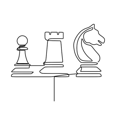 Continuous one line drawing of chess pieces minimalist design isolated on white background. Group of players tactic concept with horse.