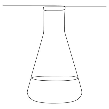 one line drawing chemical science flask. Scientific technology research medicine glass equipment design one sketch outline drawing vector illustration Stock Illustratie