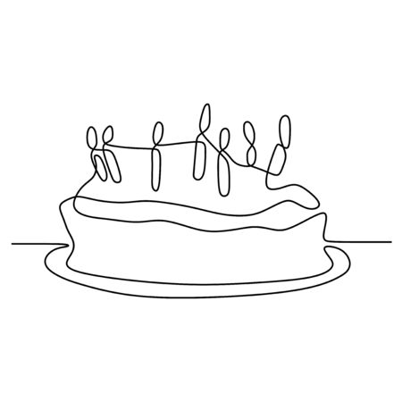 One line birthday cake with candle minimalist design banner vector illustration isolated on white background for celebration moment