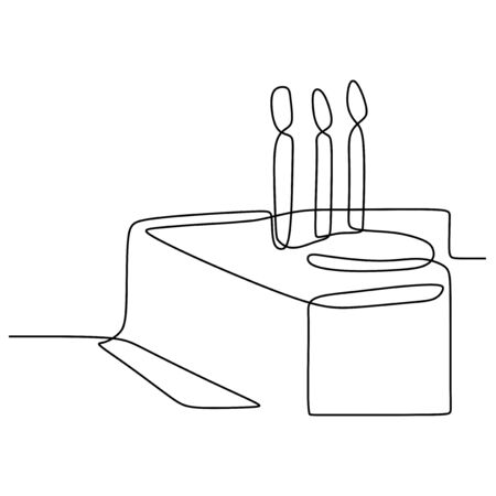 Continuous line drawing Birthday cake with candle. Symbol of celebration happy moment on white background vector illustration minimalism. Stock Illustratie